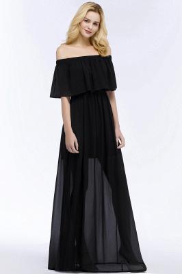 PANDORA | A-line Off-the-shoulder Floor Length Black Chiffon Bridesmaid Dresses_8