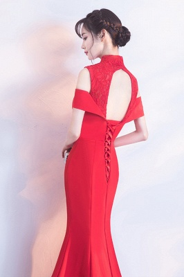 Mermaid High Neck Floor Length Red Lace Hollow Lace-up Prom Dresses/Formal Evening Gowns_3