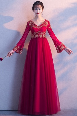 A-line Long Sleeves V-neck Lace-up Red Tulle Prom Dresses/Formal Evening Gowns with Lace Appliques_7