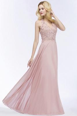 PAM   A-line V-neck Sleeveless Long Appliques Chiffon Bridesmaid Dresses_12