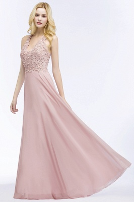 PAM   A-line V-neck Sleeveless Long Appliques Chiffon Bridesmaid Dresses_11