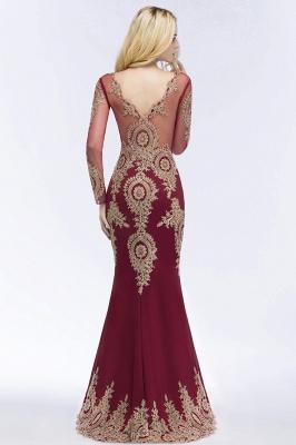 RUTH | Mermaid V-neck Floor Length Long Sleeves Appliques Prom Dresses_4