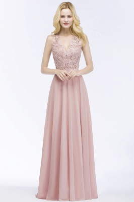 PAM   A-line V-neck Sleeveless Long Appliques Chiffon Bridesmaid Dresses_9