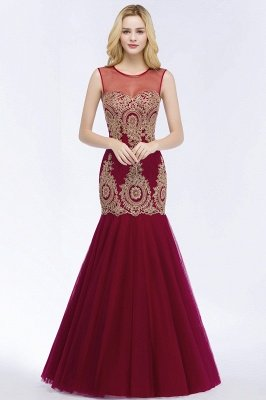 RUBY | Mermaid Sleeveless Sheer Neckline Appliqued Burgundy Tulle Prom Dresses