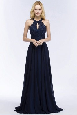 PANSY | A-line Keyhole Neckline Halter Long Beading Prom Dresses_4