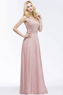 PAM   A-line V-neck Sleeveless Long Appliques Chiffon Bridesmaid Dresses_5