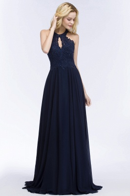 PANSY | A-line Keyhole Neckline Halter Long Beading Prom Dresses_6