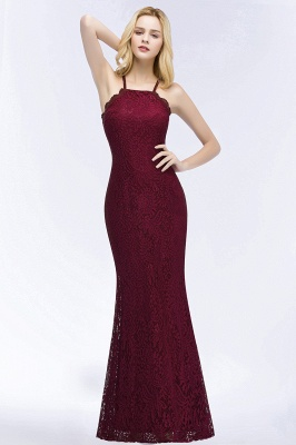 PATTI | Mermaid Floor Length Halter Lace Burgundy Bridesmaid Dresses