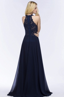 PANSY | A-line Keyhole Neckline Halter Long Beading Prom Dresses_5