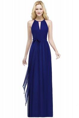 ROSALIND | A-line Halter Floor Length Burgundy Bridesmaid Dresses with Bow Sash_4