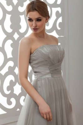 LIA | A-Line Strapless Floor Length Tulle Bridesmaid Dresses