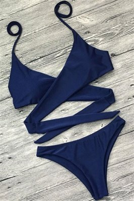 Sexy Bandage Coloeful Deep-V Neck Bikini Set_9