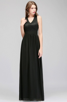 Lace V-Neck A-line Crisscross Chiffon Black Evening Dress_1