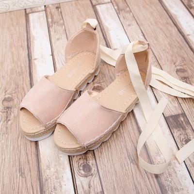 Lace-up Casual Flocking Platform Sandals_1