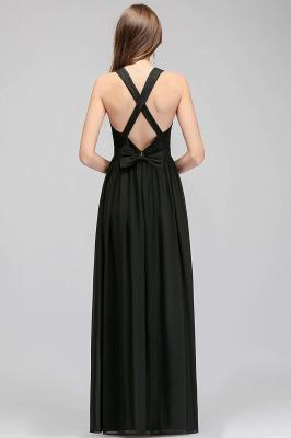 Lace V-Neck A-line Crisscross Chiffon Black Evening Dress_5