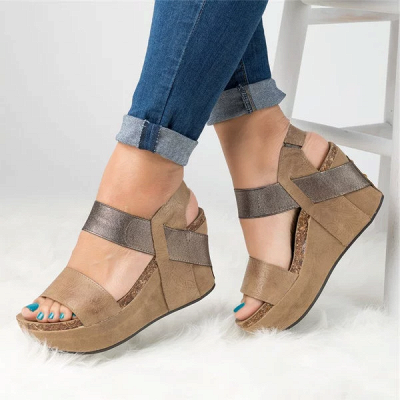 Double Straps Daily PU Peep Toe Wedge Sandals_3
