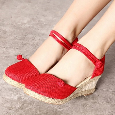 Espadrilles Button Daily Cloth Wedge Sandals_3