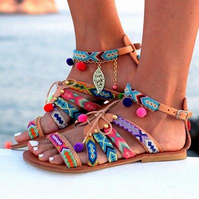Multicolor Beach Buckle Chain Sandals_5
