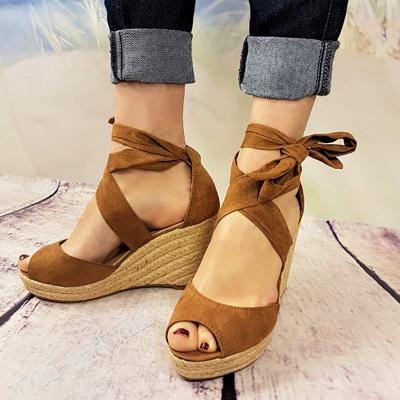 Espadrilles Bowknot Peep Toe Summer Wedge Sandals_10