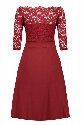 Women's Vintage Floral Lace Boat Neck Cocktail Formal Swing Dress_9