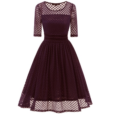 Lace Vintage Party Fit And Flare Dress_1