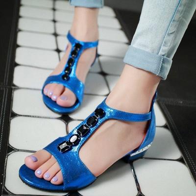 Rhinestone PU Daily Peep Toe Zipper Summer Sandals_12