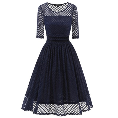 Lace Vintage Party Fit And Flare Dress_3