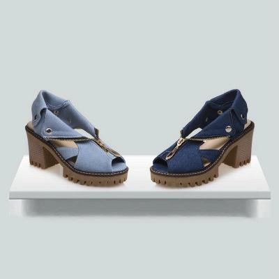 Denim Peep Toe Platform Women Chunky Sandals_4