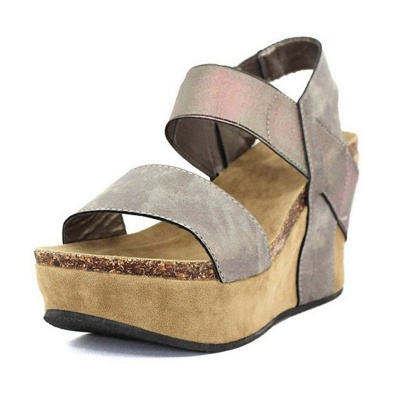 Double Straps Daily PU Peep Toe Wedge Sandals_5