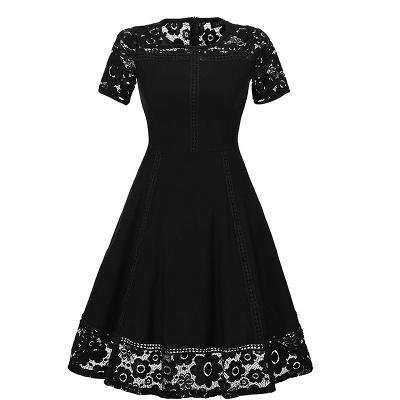 Elegant Women Round Neck Vintage Lace Dress Homecoming Dress_4