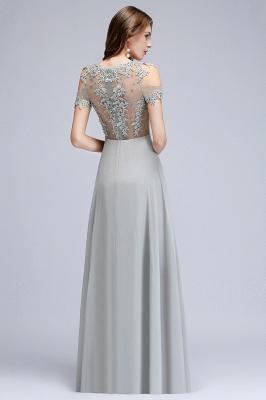 Appliques A-Line Cold-Shoulder Scoop Cheap Beaded Silver Bridesmaid Dresses_4