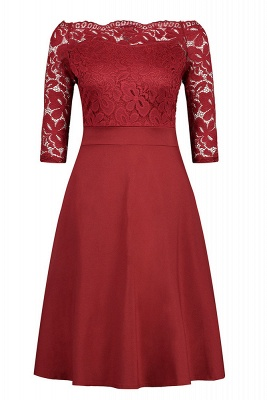 Women's Vintage Floral Lace Boat Neck Cocktail Formal Swing Dress_1