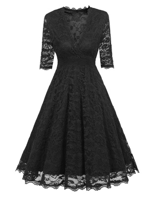 Vintage Lace Covered Low Cut Burst Large Swing Dress Cocktail Swing Dress_8