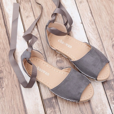 Lace-up Casual Flocking Platform Sandals_16