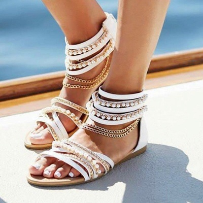 Chain Open Toe Imitation Pearl Daily Summer Sandals_1