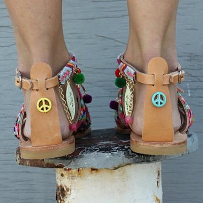 Multicolor Beach Buckle Chain Sandals_3