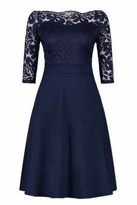 Women's Vintage Floral Lace Boat Neck Cocktail Formal Swing Dress_7