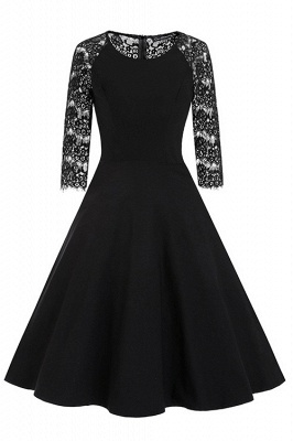 New Women Round Neck Vintage Lace Dress_3