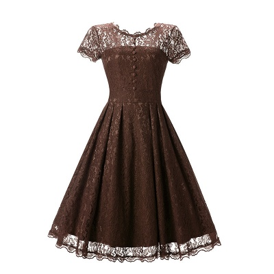 Women Floral Lace Short Sleeve Vintage Lady Party Swing Bridesmaid Dress_2