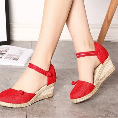 Espadrilles Button Daily Cloth Wedge Sandals_6