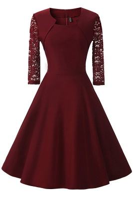 Half Sleeve Burgundy Women's Cocktail Evening Party Dress_10
