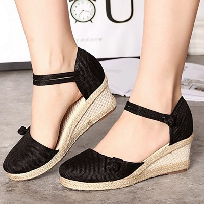 Espadrilles Button Daily Cloth Wedge Sandals_4