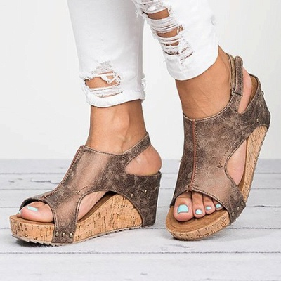 Peep Toe PU Blocking Hook-Loop Wedge Sandals_6