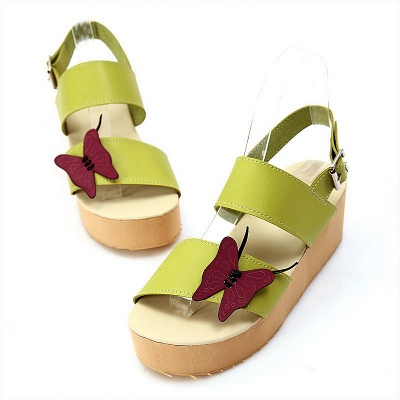 Butterfly Daily Buckle Peep Toe Platform Wedge Sandals_11