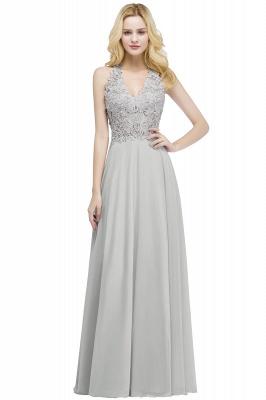 PAM   A-line V-neck Sleeveless Long Appliques Chiffon Bridesmaid Dresses_3