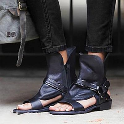 Rivet PU Flat Summer Daily Peep Toe Buckle Sandals_2