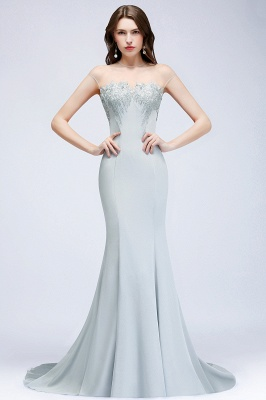 Beading Elegant Sheer-Neck Cap-Sleeves Mermaid Bridesmaid Dresses_1