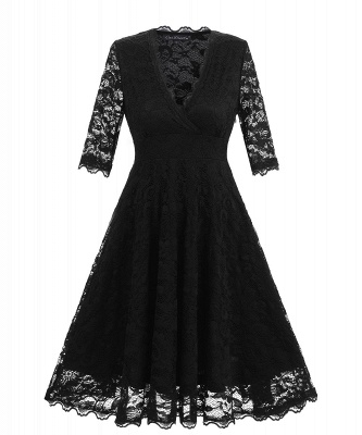 Vintage Lace Covered Low Cut Burst Large Swing Dress Cocktail Swing Dress_3