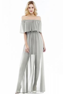 PANDORA | A-line Off-the-shoulder Floor Length Black Chiffon Bridesmaid Dresses_3