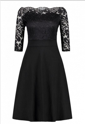 Women's Vintage Floral Lace Boat Neck Cocktail Formal Swing Dress_11